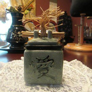 Vtg Sage Green Asian Crackle Porcelain Candle